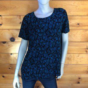 Anne Klein NWT Blue Printed Short Sleeve Hi Lo Top